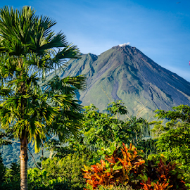 Volcano 1 by Laurie Crosson - Landscapes Mountains & Hills ( blue sky, picture perfect, clear sky, arenal volcano, costa rica, landscape )