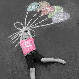 Big Sister by Lindsey Sides - People Maternity ( chalk, little sister, announcement, big sister, balloons, chalk art )