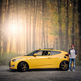 Me and my Bumblebee by Apollo Reyes - Transportation Automobiles ( veloster, bee, california, hyundai, yellow )