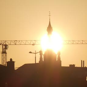 Sunrise in Kortrijk by Geert Vanhaverbeke - City,  Street & Park  Skylines ( kortrijk, crane, sunrise, sun, city )
