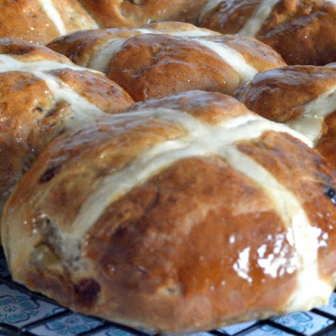 Stem Ginger and Date Hot Cross Buns