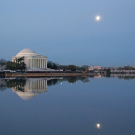 Our nation's Capital by Helen Matthews - City,  Street & Park  Vistas ( dc, cherry trees, jefferson, full moon, tidal basin, city at night, street at night, park at night, nightlife, night life, nighttime in the city )
