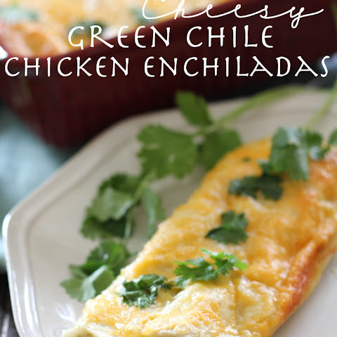 Creamy Cheesy Green Chile Chicken Enchiladas