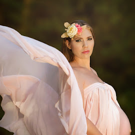 Goddess by Lyndie Pavier - People Maternity ( maternity, new, life, woman, pregnancy, pregnant, peach, begining, beauty, flowers, goddess, newborn )