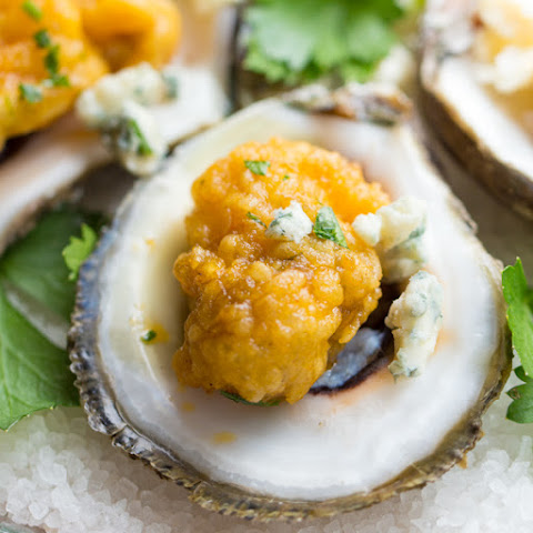 BBQ Oysters with a Blue Cheese Dipping Sauce
