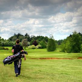 Golfing day by Stephanie Veronique - Sports & Fitness Golf ( sportiff, golf bag, walking, golf course, green, sports, golf club, golf, space, man )