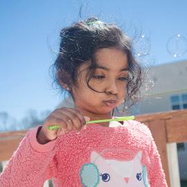 Blowing bubbles and Blue Skies by Haritha Gadiraju - Babies & Children Children Candids ( fun, kids, natural, photography, kids portrait )
