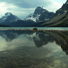 Bow Lake by Ron Jnr - Landscapes Waterscapes ( water, photograph, canada, reflections, lake, overcast, landscape, shadows, mountians, canadian rockies, road trip, snow, viewpoint, rockies, bow, stones, bow lake )