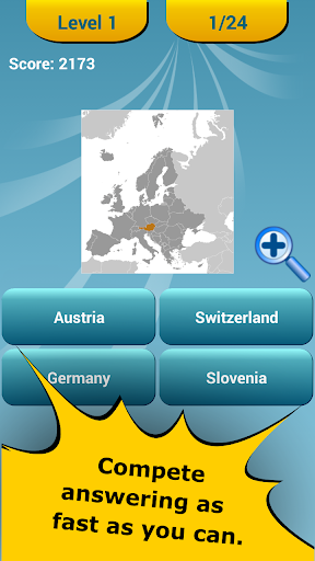 Countries Location Maps Quiz - screenshot