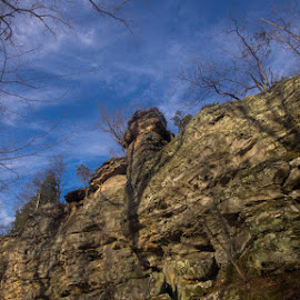 Bluffs by Greg Bennett - Landscapes Mountains & Hills ( bluffs, illinois, southern il, devil's standtable, formations, giant city state park, sandstone, forest )
