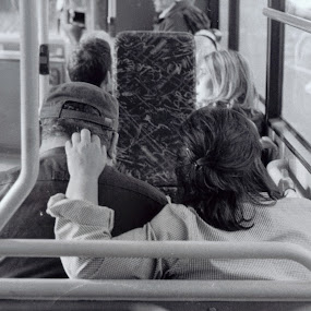 Touching Affection by Marta Gaspar - People Couples ( film, bus, black and white, couple )