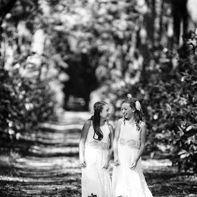 Best Friends by Luis Cabarrus - Babies & Children Children Candids ( walking, nature, black and white, candid, young girls )