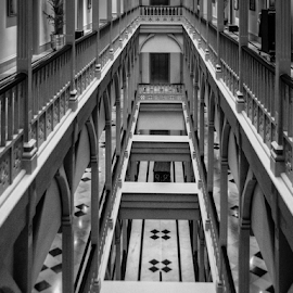 On the balcony by Giancarlo Bisone - Buildings & Architecture Office Buildings & Hotels ( mumbai, black & white, perspective, india, hotel )