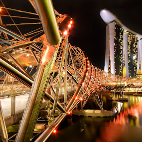 Singapore Helix Bridge to Marina Bay Sands by Rafael Uy - Buildings & Architecture Office Buildings & Hotels ( landmark, art museum, pwc82, double helix, helix, marina bay sands, bridge, travel, singapore )