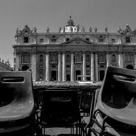 Vatican Chairs by Cristian Oprescu - City,  Street & Park  Historic Districts ( chair, black and white, rome, san pietro, vatican )