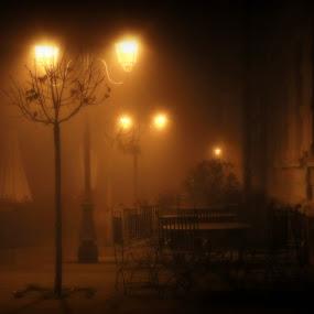 misty night by Cosmin Popa-Gorjanu - City,  Street & Park  Historic Districts ( tables, lamps, dim lighting, lovely, night, seats, dusk )