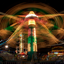 Rides at the County Fair 2 by Joe Saladino - Abstract Light Painting ( amusement park, night scene, carnival, amusement rides, fair,  )
