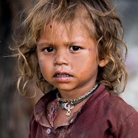India by Diego Scaglione - Babies & Children Child Portraits ( face, mouth, hair, necklace, eyes )