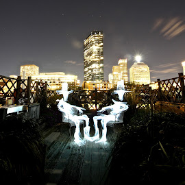 Boston Rooftop Chinwag by Augustin Cross - Abstract Light Painting ( boston, chinwag )