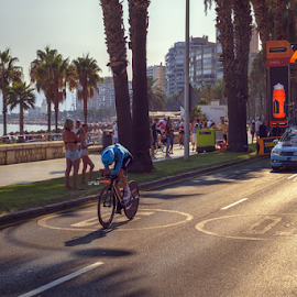 First stage of La Vuelta 2018 by Roberto Sorin - Sports & Fitness Cycling ( tt, spain, astana, capital, time trial, aerodynamics, bicycle, malagueta, competition, speed, trial, bike, professional, tourist, palm tree, car, road, jan, street, event, europe, prologue, cobble, 25th, editorial, spanish, cyclist, august, individual, race, athlete, la vuelta, malaga, people, pedaling, vuelta, outdoor, contretemps, 2018, world tour, fast, hirt, andalusia, beach, evening, travel, sport, first,  )