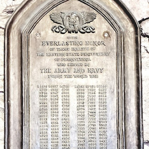 TO THE EVERLASTING HONOR OF THOSE INMATES OF THE EASTERN STATE PENITENTIARY WHO SERVED IN THE ARMY AND NAVY DURING THE WORLD WAR [List of inmate numbers] Note that on this WWI memorial plaque, ...