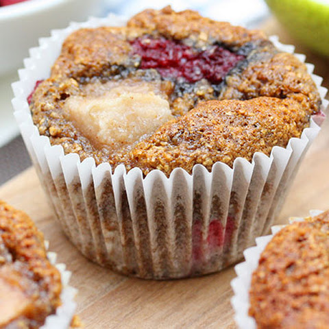 Low Fat Pear & Raspberry Muffins