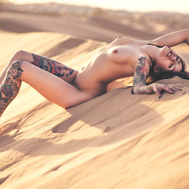 Come away with me by Joe Bowers - Nudes & Boudoir Artistic Nude ( desert, tattoos, inked, brunette, tattoo, ink )