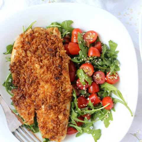Fried Onion-Crusted Tilapia w/ Sesame Ginger Marinade