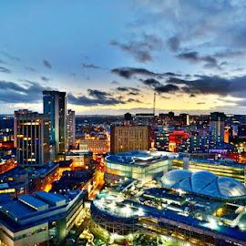 Birmingham City Center  by Birmingham Fotography - City,  Street & Park  Skylines ( colour, sky, hdr, birmingham, night, city at night, street at night, park at night, nightlife, night life, nighttime in the city )