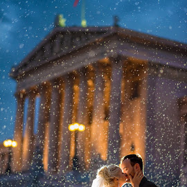 Let it Rain by Marius Igas - Wedding Bride & Groom ( love, vienna, wedding, bride, groom, austria, rain )