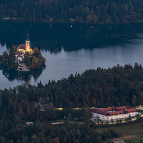 Morning hours... by Aleš Mezek - Buildings & Architecture Public & Historical ( bled in the morning, bled slovenija, bled, bled from above, bled island )