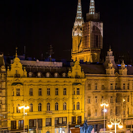 Zagreb by Mario Horvat - City,  Street & Park  Historic Districts ( lights, church, night, cityscape, zagreb )