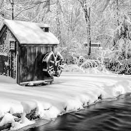 Water Wheel House by Carl Albro - Black & White Buildings & Architecture ( water, building, wheel, black and white, long exposure )