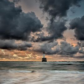 Rattray Head Sunset II by Charlie Davidson - Landscapes Sunsets & Sunrises ( clouds, sand, scotland, waves, sunset, lighthouse, cloudscape, sea, long exposure, ocean, beach, seascape )