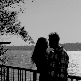In the sunlight by Rebecca OMahen - People Couples ( black and white, couple, engagement )