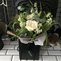 White stylish hand tied bouquet - The Florist Tunbridge Wells
