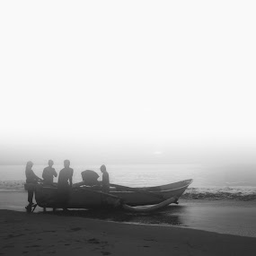 mosaic by Gunarsa Gunarsa - Landscapes Beaches ( black and white photograpy, fine art, beach, mosaic, boat, people )