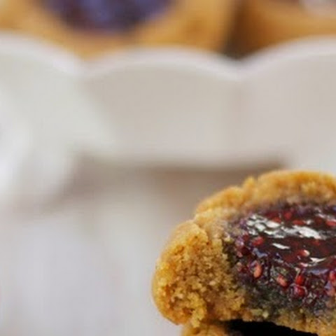 15 Minute Peanut Butter and Jam Thumbprint Cookies (Gluten Free)