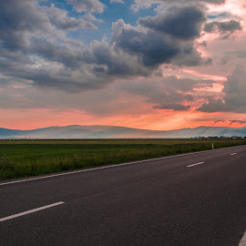 Summer evening at sunset by Constantin D - Landscapes Travel ( blue clouds ray red street sunshine )