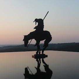 Native American at sunset by Teresa Husman - Buildings & Architecture Statues & Monuments ( horseback, sunset, reflections, native american,  )