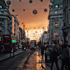 Oxford Street at twilight by Ant Smith - City,  Street & Park  Street Scenes ( london, oxford circus, twilight, christmas )