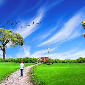 Coming Home by Shahril Khmd - Illustration Flowers & Nature ( home, cap, illustration, house, drawing, city, sky, tree, men, flower, man, water, grass, green, journey, forest, balloon, skies, bird, chair, red, blue, fog, wave, clue, hot, air, earth, walk, windmill, river )