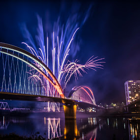 French-German friendship by Crinu Topalo - Buildings & Architecture Bridges & Suspended Structures ( water, fireworks, night, architecture, bridge, colours )