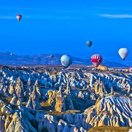 Balloons over the Cappadocia by Arif Sarıyıldız - Landscapes Caves & Formations ( turkey, balloon, travel photography, cappadocia )