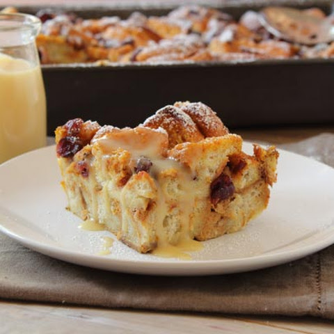 Pumpkin-Cranberry Bread Pudding with Hot Buttered Rum Sauce