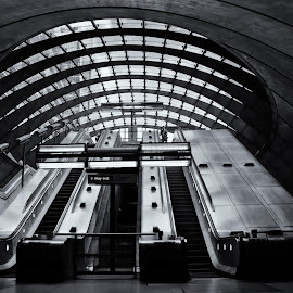 leaving canary wharf by Kevin Towler - Buildings & Architecture Other Interior ( interior, england, building, structure, london, black and white, station, single person, inside, white, architecture, underground, black )