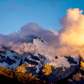Andean Sky by Todd Dubé - Landscapes Mountains & Hills ( clouds, orange, mountain, peru, cloudscape, scenic, travel, landscape, contrast, andes, cloud formations, mountains, south america, sunset, cloud, scenery, sunrise, landscapes )