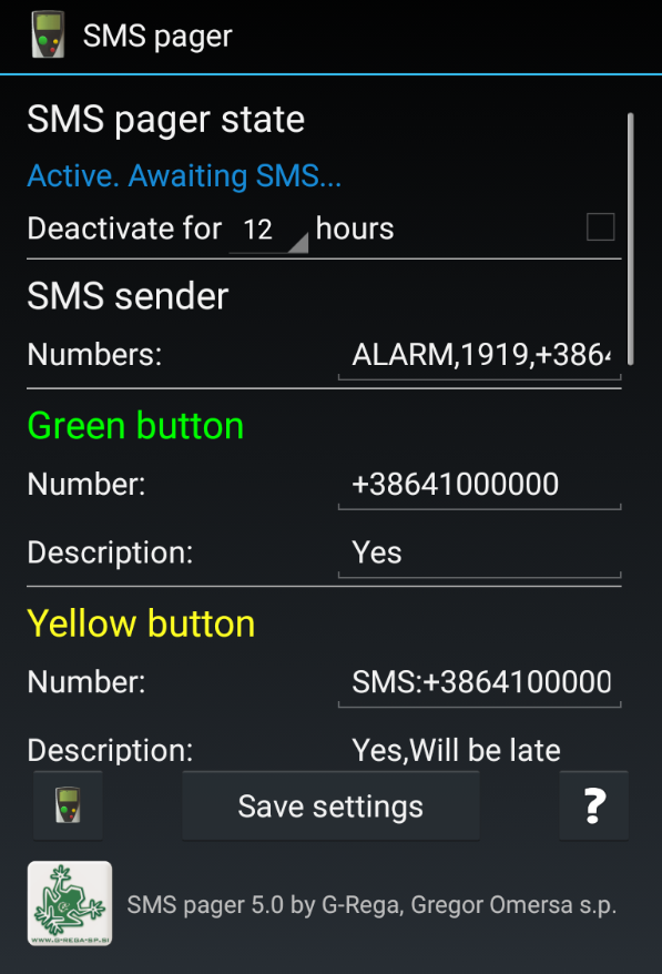 SMS Pager PRO Screenshot 1