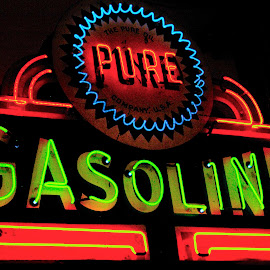 Pure Gasoline by Pat Lasley - Artistic Objects Signs ( sign, gasoline, neon, museum piece, antique,  )
