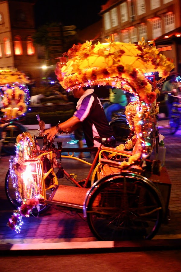 Colorful Trishaw at night by Md Hanafi - People Street & Candids ( jonkers_street, people )